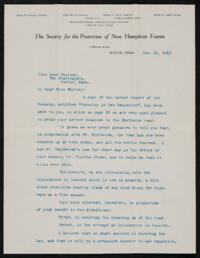 Letter from Philip W. Ayres,. Boston, Massachusetts, to Anne Whitney, Boston, Massachusetts, 1913 January 21