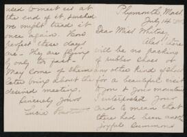 Letter from Lucia Bartlett, Plymouth, Massachusetts, to Anne Whitney, Shelburne, New Hampshire, 1907 July 14