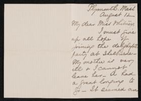 Letter from Lucia Bartlett, Plymouth, Massachusetts, to Anne Whitney, Shelburne, New Hampshire, 1907 August 12