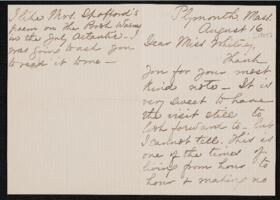 Letter from Lucia Bartlett, Plymouth, Massachusetts, to Anne Whitney, Shelburne, New Hampshire, 1907 August 16