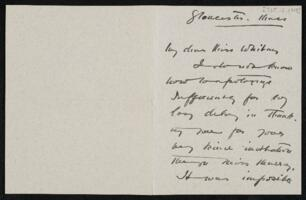Letter from Cecilia Beaux, Gloucester, Massachusetts, to Anne Whitney, Shelburne, New Hampshire, 1908 October 12