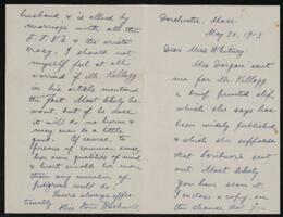 Letter from Alice Stone Blackwell, Dorchester, Massachusetts, to Anne Whitney, 1913 May 30