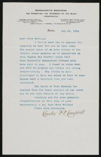 Letter from Charles F.F. Campbell, Boston, Massachusetts, to Anne Whitney, Boston, Massachusetts, 1906 May 25