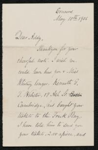 Letter from Ellen T. Emerson, Concord, Massachusetts, to Anne Whitney, 1906 May 10