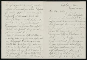 Letter from Charles E. Fay, Tufts College, Massachusetts, to Anne Whitney, Shelburne, New Hampshire, 1913 August 21