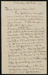 Letter from Elizabeth Bigelow Greene, Wellesley, Massachusetts, to Anne Whitney, Boston, Massachusetts, 1912 December 30