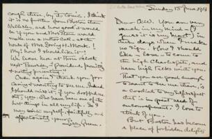 Letter from Elizabeth Bigelow Greene, Wellesley, Massachusetts, to Anne Whitney, Boston, Massachusetts, 1913 June 15