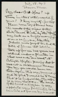 Letter from Elizabeth Bigelow Greene, Sharon, Massachusetts, to Anne Whitney, Shelburne, New Hampshire, 1913 July 18