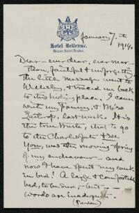 Letter from Elizabeth Bigelow Greene, Boston, Massachusetts, to Anne Whitney, Boston, Massachusetts, 1914 January 7