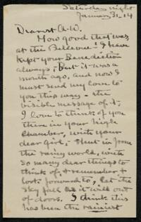 Letter from Elizabeth Bigelow Greene, Wellesley, Massachusetts, to Anne Whitney, Boston, Massachusetts, 1914 January 31