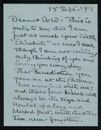 Letter from Elizabeth Bigelow Greene, Sharon, Massachusetts, to Anne Whitney, Plymouth, Massachusetts, 1914 September 15
