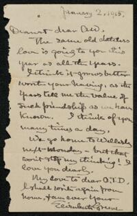 Letter from Elizabeth Bigelow Greene, Wellesley, Massachusetts, to Anne Whitney, Boston, Massachusetts, 1915 January 2