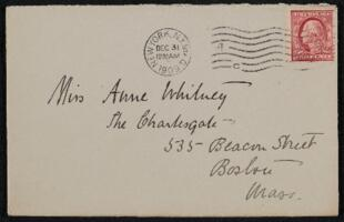 Letter from Antoinette Rotan Peterson, New York, New York, to Anne Whitney, Boston, Massachusetts, 1909 December 30