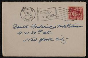 Letter from Anne Whitney, Boston, Massachusetts, to Frederick Peterson and Antoinette Rotan Peterson, New York, New York, 1909 April 8