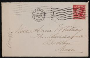 Letter from Margaret Whitney Pratt, New York, New York, to Anne Whitney, Boston, Massachusetts, 1904 January 27