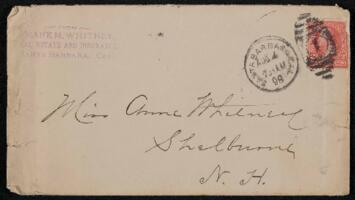 Letter from Frank Whitney, Santa Barbara, California, to Anne Whitney, Shelburne, New Hampshire, 1898 August 3