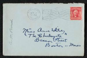 Letter from Anna Hempstead Branch, New London, Connecticut, to Anne Whitney, Boston, Massachusetts, 1908 April 9