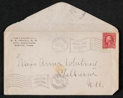 Letter from Dr. E. B. Cahill, Boston, Massachusetts, to Anne Whitney, Shelburne, New Hampshire, 1912 July 4