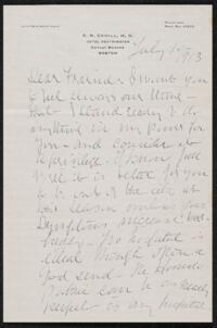 Letter from Dr. E. B. Cahill, Boston, Massachusetts, to Anne Whitney, 1913 July 10