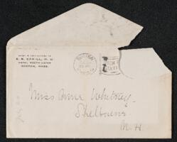 Letter from Dr. E. B. Cahill, Boston, Massachusetts, to Anne Whitney, Shelburne, New Hampshire, 1913 July 20