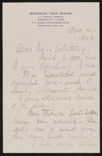 Letter from Dr. E. B. Cahill, Mountain View, Maine, to Anne Whitney, Shelburne, New Hampshire, 1913 August 04