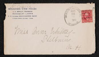 Letter from Dr. E. B. Cahill, Mountain View, Maine, to Anne Whitney, Shelburne, New Hampshire, 1913 August 28