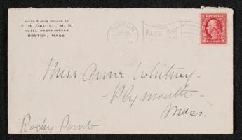 Letter from Dr. E. B. Cahill, Boston, Massachusetts, to Anne Whitney, Plymouth, Massachusetts, 1914 June 30
