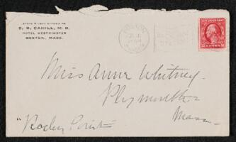 Letter from Dr. E. B. Cahill, Boston, Massachusetts, to Anne Whitney, Plymouth, Massachusetts, 1914 July 10