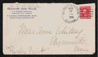 Letter from Dr. E. B. Cahill, Mountain View, Maine, to Anne Whitney, Plymouth, Massachusetts, 1914 August 17