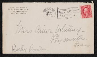 Letter from Dr. E. B. Cahill, Boston, Massachusetts, to Anne Whitney, Plymouth, Massachusetts, 1914 September 14