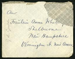 Letter from Dr. George Lincoln Goodale, W&#252rzburg, Germany, to Anne Whitney, Shelburne, New Hampshire, 1900 August 20