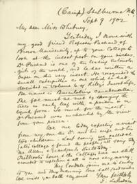Letter from Dr. George Lincoln Goodale, Shelburne, New Hampshire, to Anne Whitney, 1902 September 09