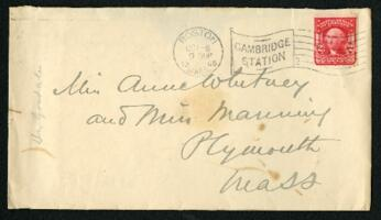 Letter from Dr. George Lincoln Goodale, Cambridge, Massachusetts, to Anne Whitney and Adeline Manning, Plymouth, Massachusetts, 1905 October 6