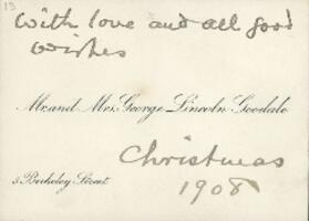 Letter from Dr. George Lincoln Goodale, to Anne Whitney, 1908 December 25