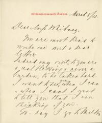Letter from Ida Agassiz Higginson, to Anne Whitney, 1912 March 8