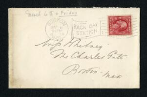 Envelope from Ida Agassiz Higginson, Boston, Massachusetts, to Anne Whitney, Boston, Massachusetts, 1914 March 6