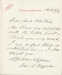 Letter from Ida Agassiz Higginson, to Anne Whitney, 1914 March 9