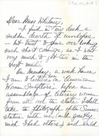 Letter from Edwina Spencer, Buffalo, New York, to Anne Whitney, 1904 February 22