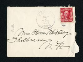 Letter from Fidelia Bridges, Canaan, Connecticut, to Anne Whitney, Shelburne, New Hampshire, 1907 September 2