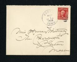 Letter from Fidelia Bridges, Canaan, Connecticut, to Anne Whitney, Boston, Massachusetts, 1908 May 6