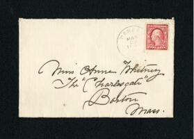 Letter from Fidelia Bridges, Canaan, Connecticut, to Anne Whitney, Boston, Massachusetts, 1910 March 22