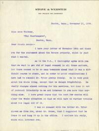 Letter from Charles Augustus Stone, Boston, Massachusetts, to Anne Whitney, Boston, Massachusetts, 1904 November 17