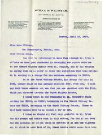 Letter from Charles Augustus Stone, Boston, Massachusetts, to Anne Whitney, Boston, Massachusetts, 1902 April 18