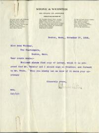 Letter from Charles Augustus Stone, Boston, Massachusetts, to Anne Whitney, Boston, Massachusetts, 1903 November 27