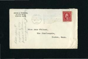 Letter from Charles Augustus Stone, Boston, Massachusetts, to Anne Whitney, Boston, Massachusetts, 1913 October 17