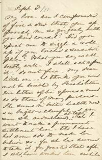 Letter from Anne Whitney, to Adeline Manning, 1871 September 8
