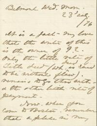 Letter from Anne Whitney, Belmont, Massachusetts, to Adeline Manning, 1876 August 23