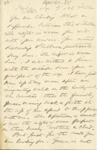 Letter from Anne Whitney, Shelburne, New Hampshire, to Adeline Manning, Brooklyn, New York, 1885 September 20