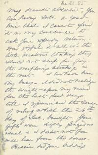 Letter from Anne Whitney, to Adeline Manning, Brooklyn, New York, 1885 December 26