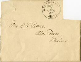 Letter from Louise Pierce, Wellesley, Massachusetts, to Mr. R.F. Pierce, Old Town, Maine, 1896 September 22